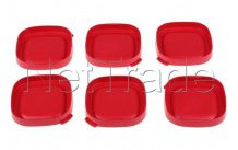 Seb - Tapas de yogur cuadrado rojo - 6 pzas - SS1530000653