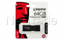 Kingston datatraveler 100 generation 3 - unidad flash usb3.1 de 64gb negro - DT100G364GB