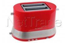 Tecnolux - Tostador de pan 2 ranuras, rojo, potencia 820w - PT822SM1R