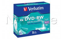 Verbatim datalifeplus paquete de 5 dvd-rw 4.7 gb 4x speed jewel case - 43285